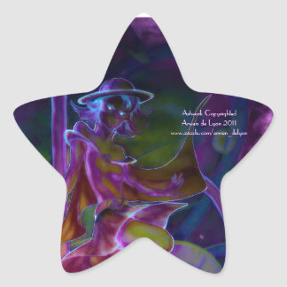 Windy Saturn Psychedelic Star Stickers