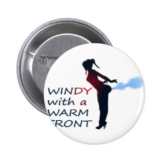 windy with a warm front pinback button