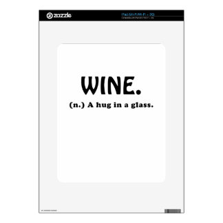 Wine A Hug in a Glass Decals For iPad