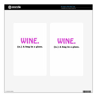 Wine A Hug in a Glass Kindle Fire Decals