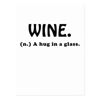 Wine A Hug in a Glass Postcard