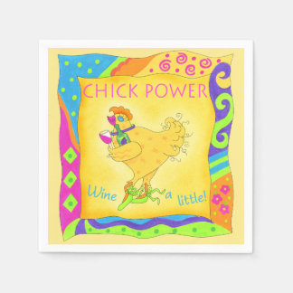 Wine a Little Chick Power Custom Yellow Napkin