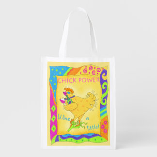 Wine a Little Chick Power Custom Yellow Reusable Grocery Bag
