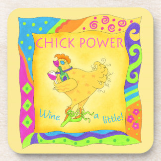 Wine a Lttle Chick Power Yellow Whimsy Coaster