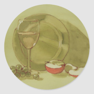 Wine and Apple Classic Round Sticker