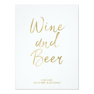 Wine and Beer Sign | Stylish Gold Hand Lettered Card