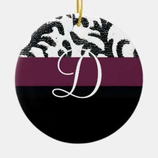 Wine and Black Floral Monogram Ornaments