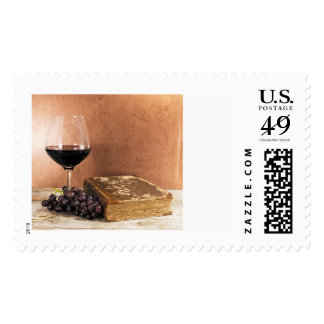 wine and book winery stamp
