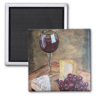 Wine and Cheese 2 Inch Square Magnet