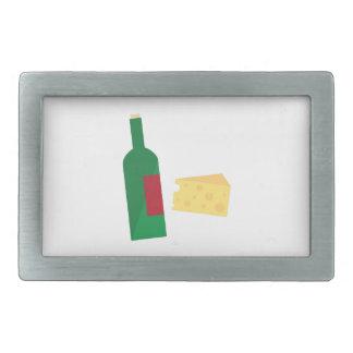 Wine And Cheese Rectangular Belt Buckles