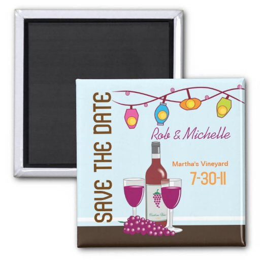 Wine and Cheese Bridal Shower Custom Magnet Favor