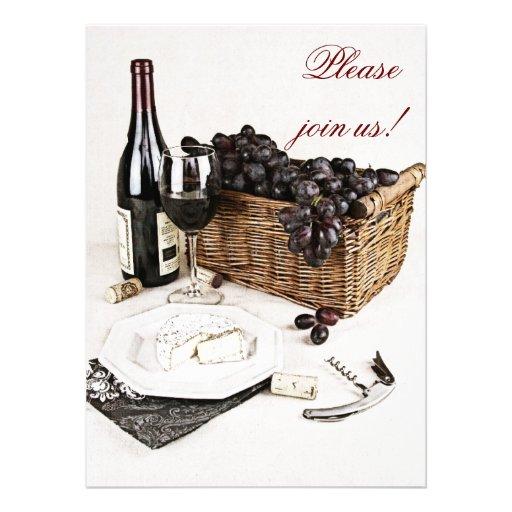 Wine and cheese dinner celebration invitation
