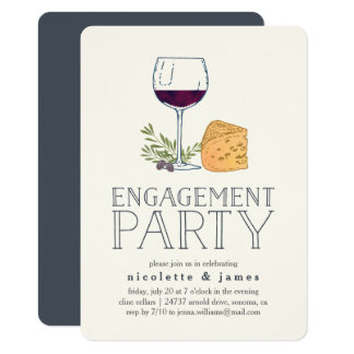 Wine and Cheese Engagement Party Invitation