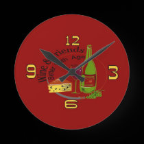 Wine and Cheese Friends Clock wall clocks
