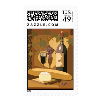 Wine and cheese gourmet party postage stamps