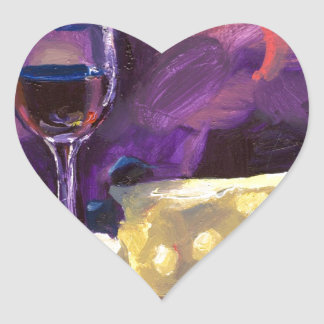 Wine and Cheese Heart Sticker