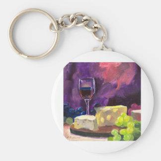 Wine and Cheese Keychain