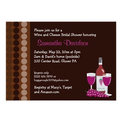 Wine and Cheese Party 5x7 Bridal Shower Invite