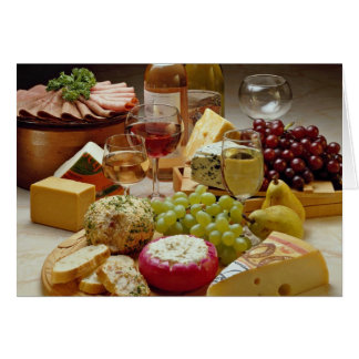 Wine and cheese party greeting cards