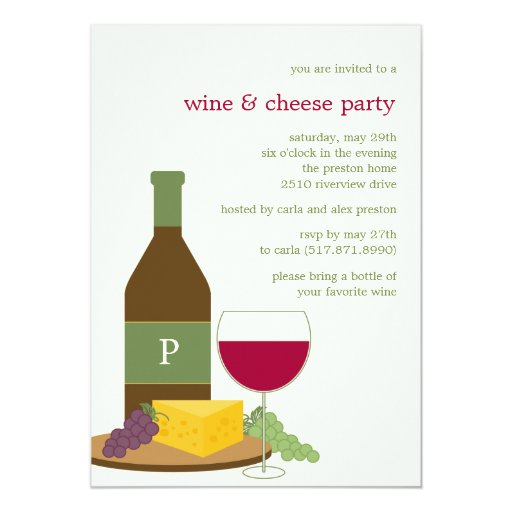 Wine and Cheese Party Invitations   Zazzle