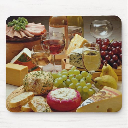 Wine and cheese party mouse pads