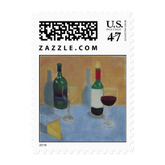 Wine and Cheese Postage Stamp