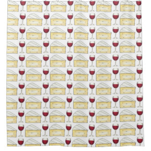 Wine And Cheese Red Brie Shower Curtain