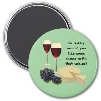 Wine and Cheese Series 3 Inch Round Magnet