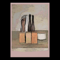Wine and Cheese Still Life in Pink posters
