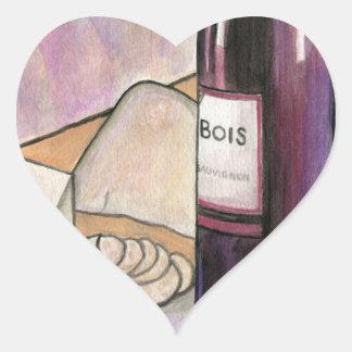 Wine and Cheese Tonight Heart Sticker
