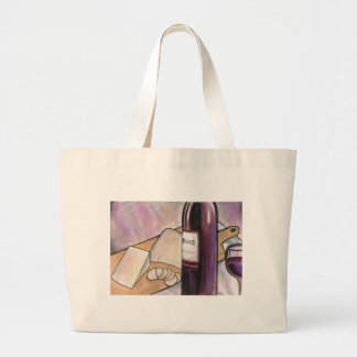 Wine and Cheese Tonight Large Tote Bag