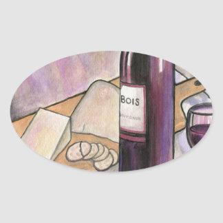 Wine and Cheese Tonight Oval Sticker