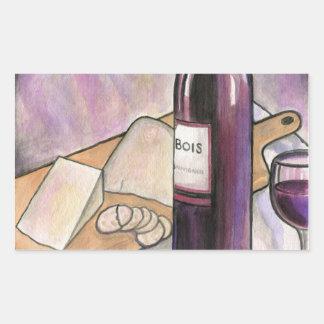 Wine and Cheese Tonight Rectangular Sticker