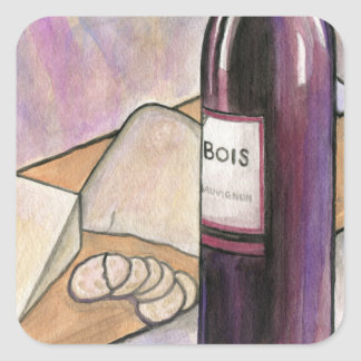 Wine and Cheese Tonight Square Sticker