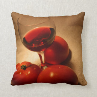 Wine and Delicious Fresh Tomatoes Throw Pillow