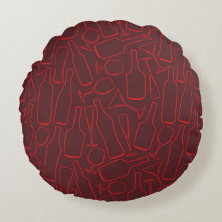 Wine and Dine Round Pillow