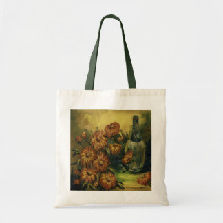 Wine and Flowers Canvas Tote Bag