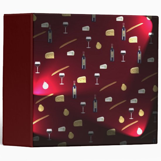 Wine And Food Cranberry Lights 3 Ring Binder