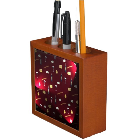 Wine And Food Cranberry Lights Desk Organizer