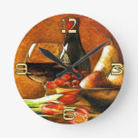 Wine and Fruit Round Wall Clocks