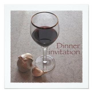 wine and garlic dinner invitation