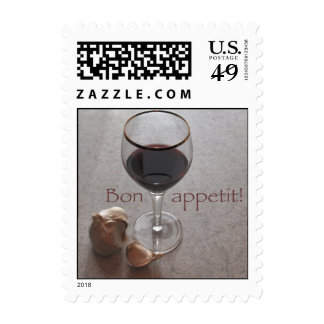 wine and garlic dinner party stamp
