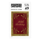 Wine and Gold Floral 90th Birthday Postage