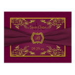Wine and Gold Floral Damask Save the Date Card Post Card