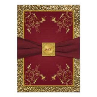 Wine and Gold Medallion 90th Birthday Invitation