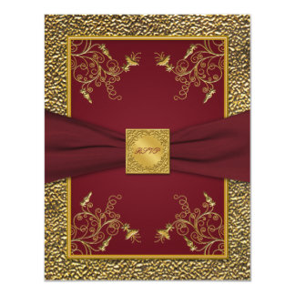 Wine and Gold Medallion Reply Card