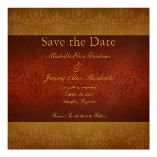 Wine and Gold Vintage Damask Save the Date Card Announcement