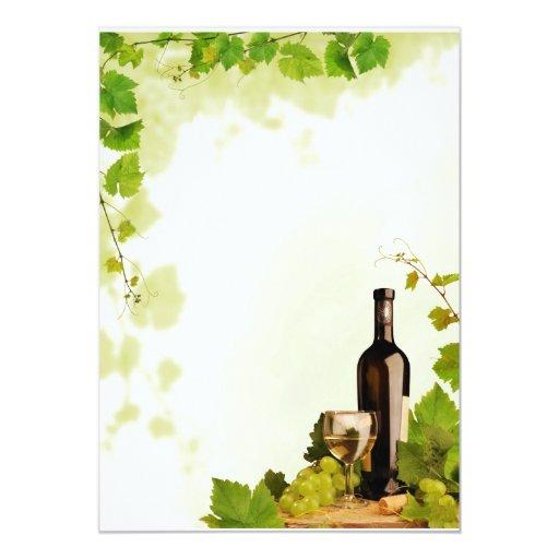Wine and grapes 5x7 paper invitation card