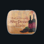 """Wine and Grapes After Dinner Mints   Jelly Belly Tin<br><div class=""""desc"""">A wonderful ending to a perfect dinner. """"After Dinner Mints"""" for your guests, comes in a little reusable tin box. An old world look of wine bottles and grapes. The wine bottles are personalized with your initials or your guests initials. This sample text is """"Thank you for coming"""" but you...</div>"""