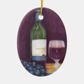 Wine and Grapes Art Gifts Ceramic Ornament